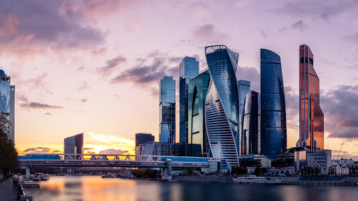 Skyscrapers of Moscow International Business Centre (also known as Moskva City) during sunset.